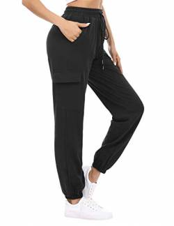 Doaraha Jogginghose Damen Lang Baumwolle Sweatpants High Waist Trainingshose, Freizeithose Sweathose mit 4 Taschen Bündchen und Elastischen Kordelzug Slim Fit Schwarz von Doaraha