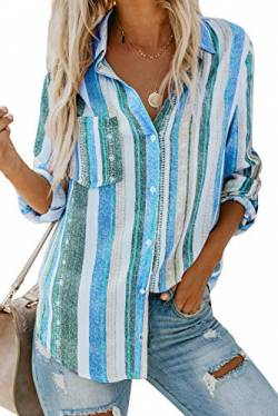 Dokotoo Damen V-Ausschnitt Bluse Langarm Casual Oberteile Hemd Elegant Enough Striped Button Down Top Blau XL von Dokotoo