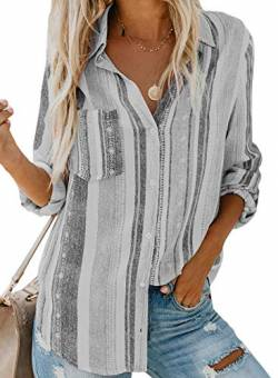 Dokotoo Damen V-Ausschnitt Bluse Langarm Casual Oberteile Hemd Elegant Enough Striped Button Down Top Grau XL von Dokotoo