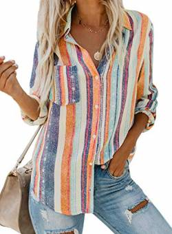 Dokotoo Damen V-Ausschnitt Bluse Langarm Casual Oberteile Hemd Elegant Enough Striped Button Down Top Orange XL von Dokotoo