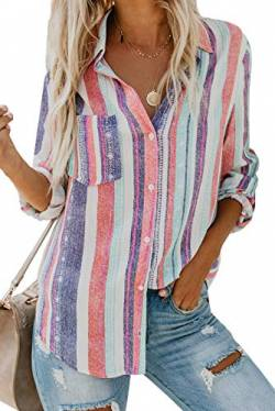 Dokotoo Damen V-Ausschnitt Bluse Langarm Casual Oberteile Hemd Elegant Enough Striped Button Down Top Weiß L von Dokotoo