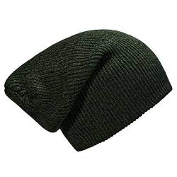 57c1c1638199aa DonDon Damen und Herren Slouch Long Beanie Mütze dunkelgrün schwarz von  DonDon