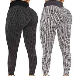 Donasty 2 Stücke Leggings Damen Yoga Leggings High Taille Bauchkontrolle Po Lift Anti-Cellulite Kompressionshose Sport Leggings Slim Fit Sporthose Po-Lifting-Yogahose Traininghose Fitness Laufhose von Donasty