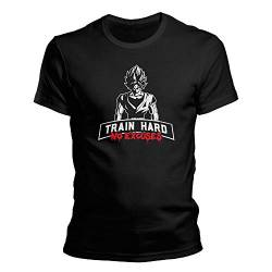 DragonHive Herren Goku Train Hard Bodybuilding T-Shirt (XXXXL) von DragonHive