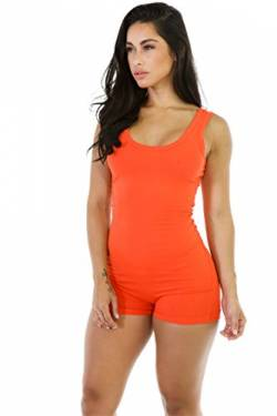 Dreamskull Damen Frauen Jumpsuits Overalls Einteiler Hosenanzug Romper Jumper Body Bodycon Bodysuit One Piece Sport Fitness Yoga Sommer Kurz Eng Sexy Rückenfrei Ärmellos Stretch (S, Orange) von Dreamskull
