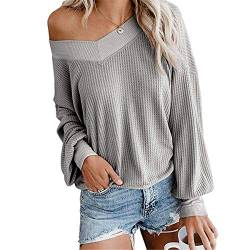 Dreamskull Damen Frauen Pullover Blusen Shirt Longpulli Oberteile Longshirt Bluse Long Locker Elegant Langarm Schulterfrei Tunika Party Stretch Tops T-Shirt (Grau, X-Large) von Dreamskull