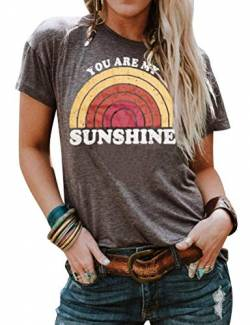 Dresswel You Are My Sunshine T-Shirt Damen Kurzarm Rundhals Tee Shirts Regenbogen Grafik Drucken Oberteile Tee Tops von Dresswel
