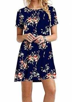 EFOFEI Damen Printed Swing Dress Rundhals Kleid A Line Dress, M, Z-blumenblau von EFOFEI