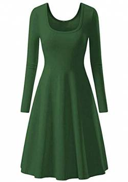 EFOFEI Damenkleid Langarm Basic Winter Solid Color Big Swing Kleid Grün S von EFOFEI