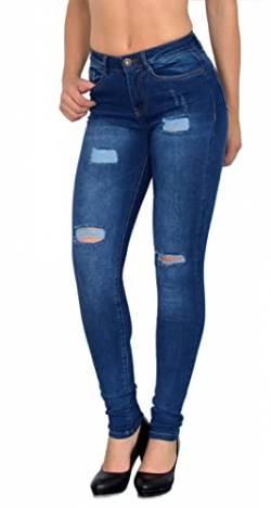 352ed927364339 ESRA Damen Skinny Stretch Jeans mit Risse Destroyed Look Hüftjeans Jeanshose  große Größen # S600 von