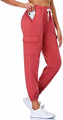 EVELIFE Jogginghose Damen High Waist Sportshose Leggings Mit Taschen Freizeithose Sports Pants Trainingshose Für Yoga Fitness Running(Rot L) von EVELIFE