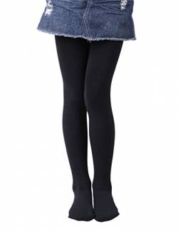 EVERSWE Girls' Winter Fleece Lined Tights, Girls' Opaque Thermal Tights (6-8, Black) von EVERSWE