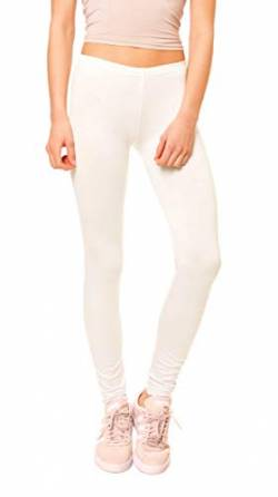Easy Young Fashion Damen Basic Viscose Jersey Leggings Leggins Lang Uni Einfarbig One Size Creme von Easy Young Fashion