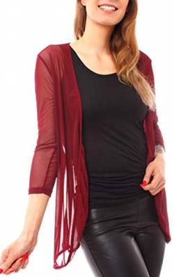 Easy Young Fashion Damen Jacke Mesh Cardigan Transparent Langarm Netz Jäckchen Dünn Strickjacke Strickjacke Leicht One Size Dunkelrot von Easy Young Fashion