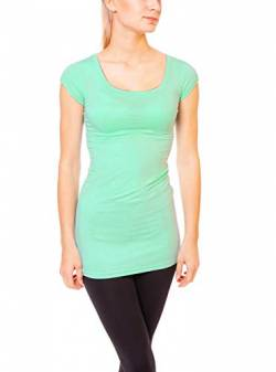 Easy Young Fashion Damen Basic Kurzarm T-Shirt Lang Longshirt Unterziehshirt mit Rundhals Ausschnitt Mint M von Easy Young Fashion