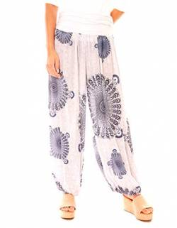Easy Young Fashion Damen Hose Aladin Haremshose Freizeit Pluderhose Hippie Strandhose Lang Gemustert (One Size, India Weiß) von Easy Young Fashion