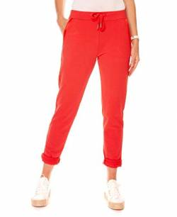 Easy Young Fashion Damen Hose Jogginghose Lang Sporthose Trainingshose Baumwolle Jogg Pants Sweatpants mit Seitenstreifen Rot S 36 von Easy Young Fashion