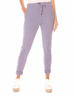 Easy Young Fashion Damen Hose Jogginghose Lang Sporthose Boyfriend Freizeit Sweatpant Jogg Pants Jogging Jerseyhose Baumwolle Lavendel XL 42 von Easy Young Fashion