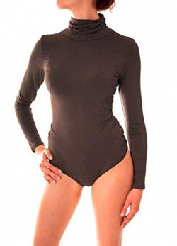 Easy Young Fashion Damen Langarm Body Suit Langarmshirt Unterwäsche mit Rundhals Ausschnitt (One Size, Rollkragen Espresso) von Easy Young Fashion