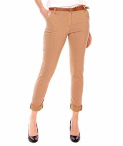 Easy Young Fashion Damen Stretch Hosen Slim Fit Straight Chino Anzughose Lange Elegante Freizeithose Elastisch Bengalin Stoffhose Camel S von Easy Young Fashion
