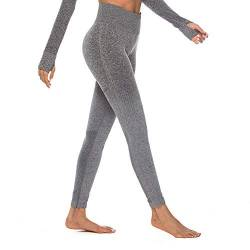 Eaylis Damen Hohe Taille Sport Leggings, Damen Farbverlauf Sport Leggings, Yoga Sporthose, Damen Leggings, Classics Stretch Workout Fitness Jogginghose (Grau, Medium) von Eaylis Leggings