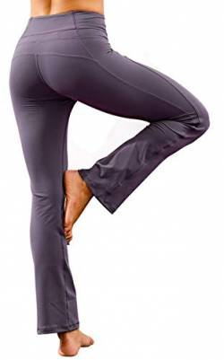 Ecupper Damen Yogahose High Waist Bootcut Stretch Jogginghose Sporthose für Yoga, Pilates, Fitness,Training Grau Violett 36 von Ecupper