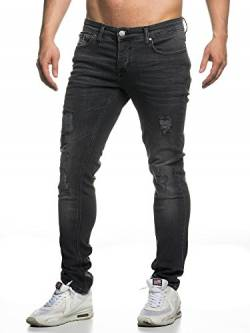 Elara Herren Jeans Destroyed Slim Fit Hose Denim Stretch Chunkyrayan 16525-Black-34W / 36L von Elara
