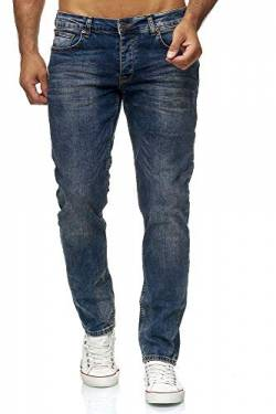 Elara Herren Jeans Slim Fit Hose Denim Stretch Chunkyrayan RS-2063 Blue-29W / 34L von Elara