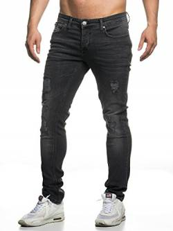 Elara Herren Jeans Destroyed Slim Fit Hose Denim Stretch Chunkyrayan 16525-Black-30W / 34L von Elara