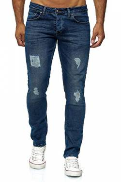 Elara Herren Jeans Destroyed Slim Fit Hose Denim Stretch Chunkyrayan 16525-Blau-33W / 36L von Elara