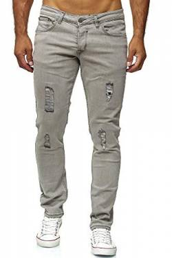 Elara Herren Jeans Destroyed Slim Fit Hose Denim Stretch Chunkyrayan 16525-Grau-32W / 36L von Elara