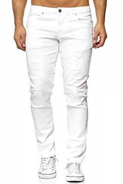 Elara Herren Jeans Destroyed Slim Fit Hose Denim Stretch Chunkyrayan 16525-Weiss-29W / 34L von Elara