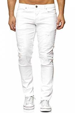 Elara Herren Jeans Destroyed Slim Fit Hose Denim Stretch Chunkyrayan 16525-Weiss-31W / 30L von Elara