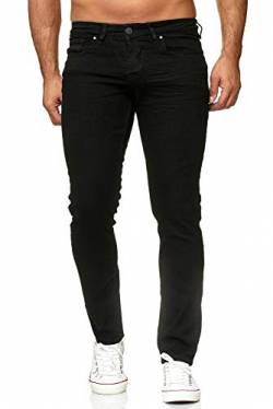 Elara Herren Jeans Slim Fit Hose Denim Stretch Chunkyrayan 16533-Black-30W / 30L von Elara