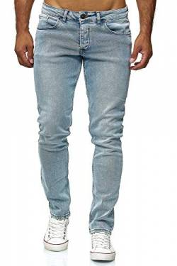 Elara Herren Jeans Slim Fit Hose Denim Stretch Chunkyrayan 16533-Light-Blue-30W / 34L von Elara