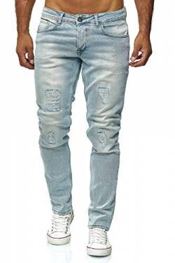 Elara Herren Jeans Destroyed Slim Fit Hose Denim Stretch Chunkyrayan 16525-Light-Blue-31W / 30L von Elara
