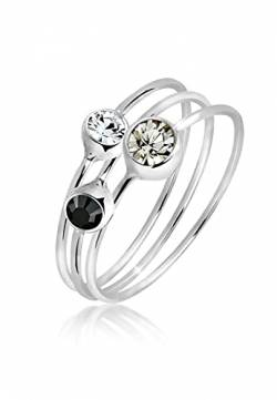 Elli Ring Damen Set Stacking mit Swarovski Kristallen in 925 Sterling Silber von Elli