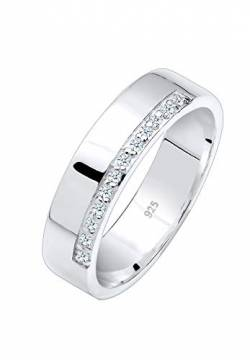 Elli PREMIUM Ring Damen Bandring Basic mit Diamanten (0.06 ct.) in 925 Sterling Silber von Elli