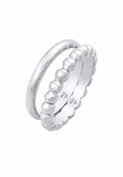 Elli Ring Damen Bandring Duo Basic Kugel Trend Basic in 925 Sterling Silber von Elli