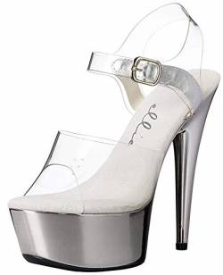 Ellie Shoes Damen 609-CHROME Plateau-Sandalen, Transparent (transparent/Silber), 37 EU von Ellie Shoes