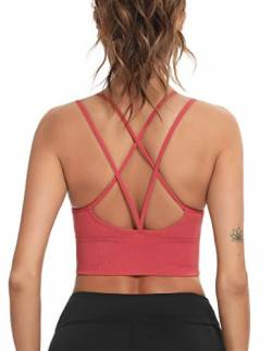 Enjoyoself Damen Sport BH Ohne Bügel Push Up Sport Bra Gepolstert Chic Bustier mit Schnüre am Rücken Leicht BH Top für Yoga Fitness,Rot,L von Enjoyoself