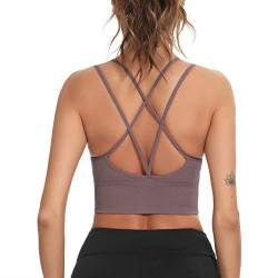 Enjoyoself Damen Sport BH Ohne Bügel Push Up Sport Bra Gepolstert Chic Bustier mit Schnüre am Rücken Leicht BH Top für Yoga Fitness Lila,XL von Enjoyoself