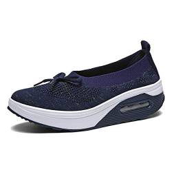 EnllerviiD Damen atmungsaktive Mary Jane Schuhe Schnalle Casual Walking Slip On Sneakers, Blau (blau), 37 EU von EnllerviiD