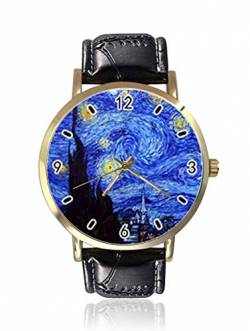 Starry Night by Greatest Artist Van Gogh Damen Herren Uhren Fashion Unisex Leder Casual Quarz Armbanduhr von Ericos