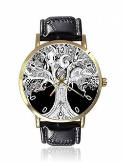 Tree of Life I See Two Big Eyes Damen Herren Uhren Fashion Unisex Leder Casual Quarz Armbanduhr von Ericos