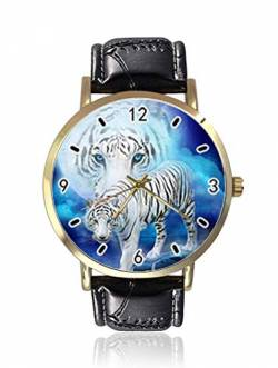 White Tiger Moon Night Damen Herren Armbanduhr Fashion Unisex Leder Casual Quarz Armbanduhr von Ericos