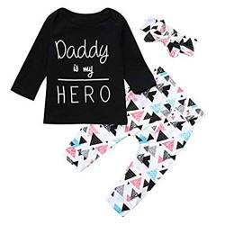 Eternali Daddy is My Hero Letter Drucken Kind Mädchen Junge Kinderkleidung Outfits Set Newborn Toddler Infant Baby Girls Boys Papa ist Mein Held Letter Print Tops Headband Pants Hose Babybekleidung von Eternali