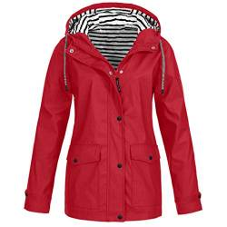 Regenmantel Damen Winterjacke Pumps Wintermantel Outdoor Plus Solide Wasserdichter Kapuzenjacke Regenjacke für Frauen Outdoorjacken Wanderjacke mit Kapuze Windproof Outwear Windbreaker von Eternali