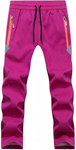 FAIRYRAIN Children's Boys Girls Winter Warm Softshell Trousers Lined Windproof Outdoor Trousers with Adjustable Drawstring Fleece Lining Rain Trousers Hiking Trousers - Pink, Gr. 140 von FAIRYRAIN