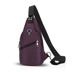 FANDARE Sling Bag Rucksack Umhängetasche Brusttasche Messenger Bag Schultertasche Hiking Bag Daypack Crossbody Bag Chest Pack Sports Reisetasche Polyester Lila von FANDARE